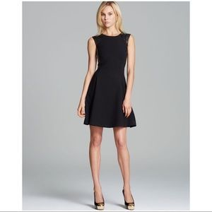 NWT Rebecca Taylor Fit & Flare  Leather Trim Dress
